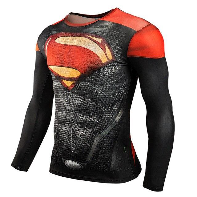 Men Fitness Compression Shirt  Superman Captain America Batman Spiderman Iron Man Crossfit 3D tshirt male Fashion  Clothing