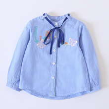 Striped Cartoon Baby Girls Shirts Butterfly Embroidery Single-breasted Funny Tops Kids Princess Breathable Girls Blouses Clothes
