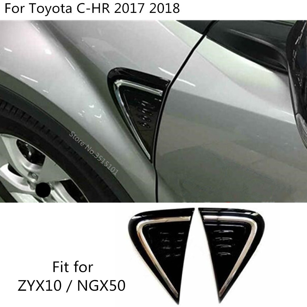 For Toyota CHR C-HR 2017-2019 BLK Outside Air Vent Side Outlet Trim Chrome