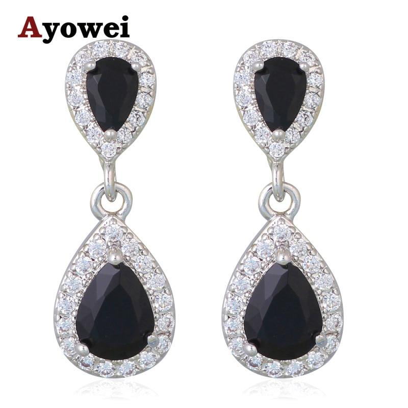 New Hot Popular Black Onyx Earrings for Women Silver Filled Prom Accessories Fashion Jewelry Dangle Earrings JE1068A