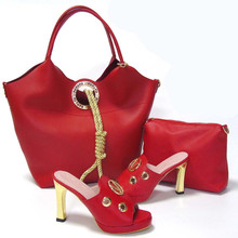 Fashion italienische schuhe und taschen setzt spiel für afrikanische frauen Freies Verschiffen 37-43 rot