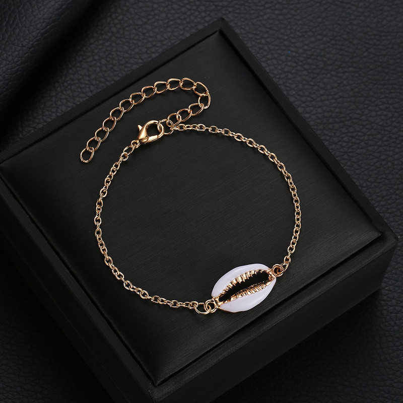 S044 Bohemia Shell bransoletka dla kobiet złoty kolor naturalne muszla ręcznie dzianiny bransoletka muszle bransoletki kobiety biżuteria akcesoria
