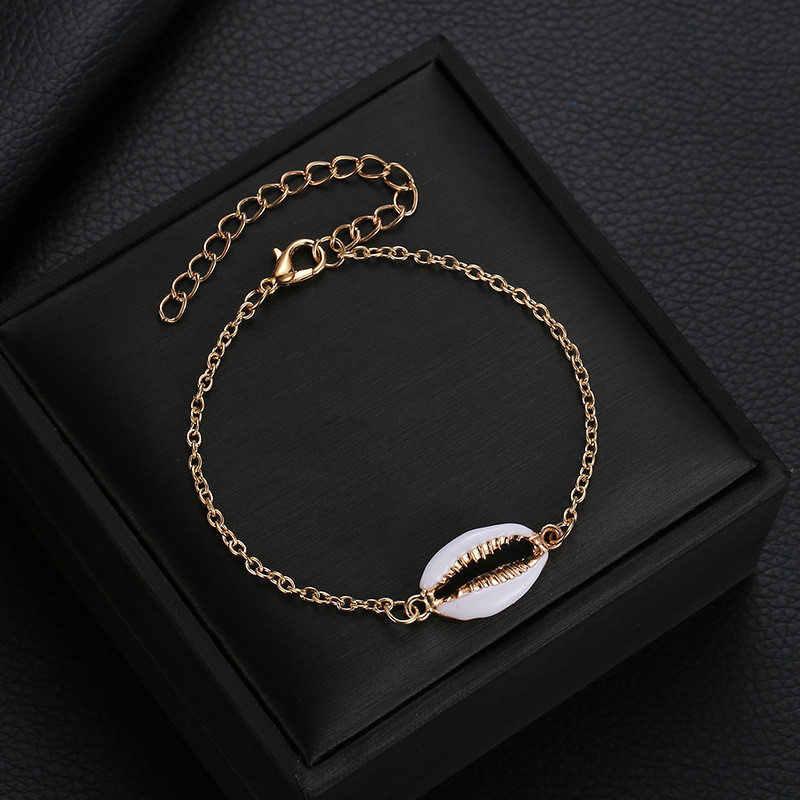 S044 Богемия оболочки браслет для женщин золотой цвет натуральная ракушка ручной вязки браслеты из раковин Женские ювелирные аксессуары