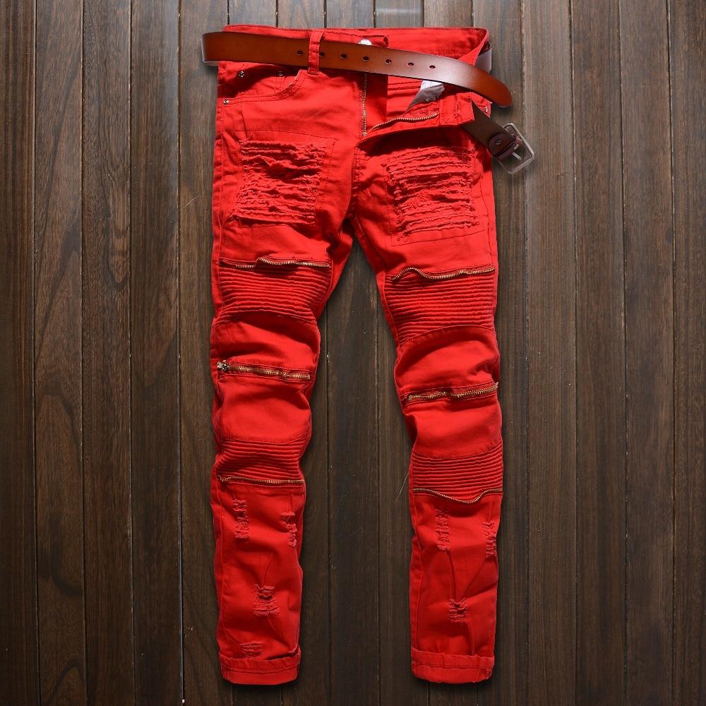 2017 New Men Skinny Jeans Design Fashion Biker Runway Hip Hop Slim Jeans Knee Zipper Hole Distressed Jeans Men Ripped Jeans