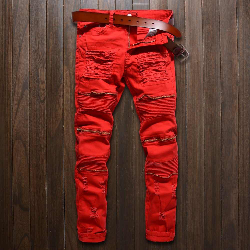 2af3b9b1c1 2017 new Men skinny Jeans Design Fashion Biker Runway Hip hop Slim ...