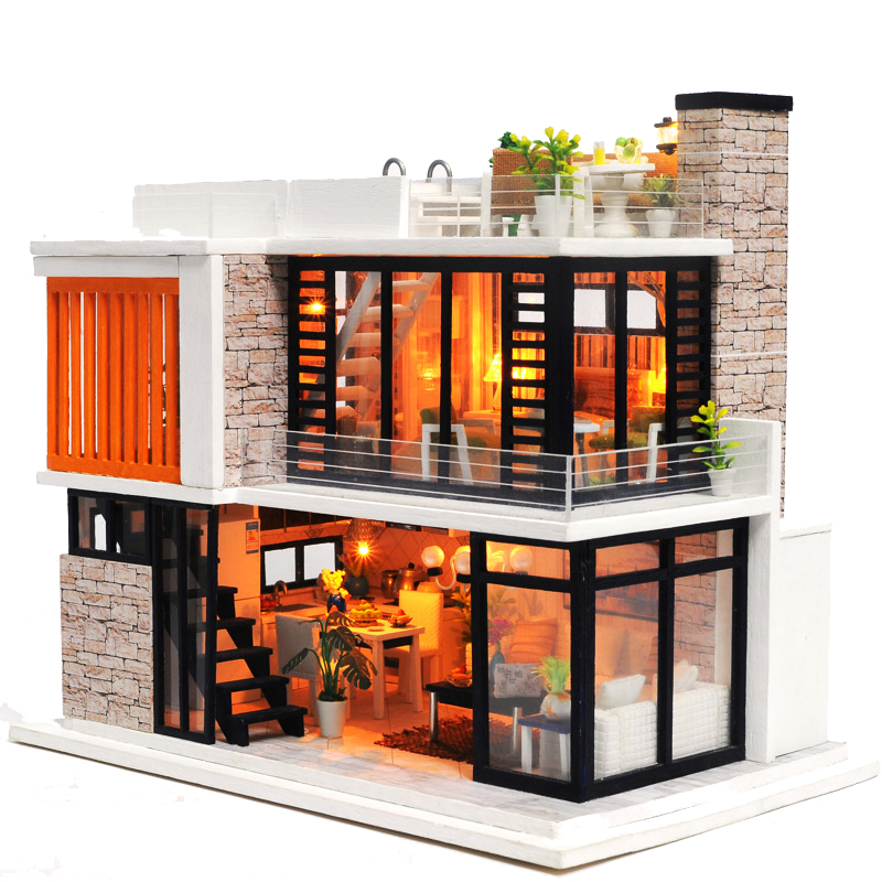 Double Story DIY Doll House New Furniture Wooden Miniature Doll Houses With Dust proof Cover Handmade