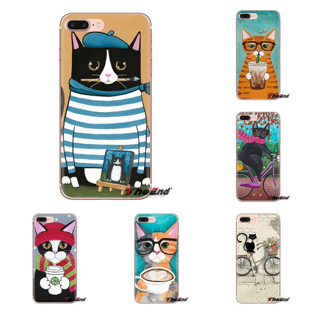 Soft Transparent Shell Covers Coffee Milk Drink Bottle Cat For Huawei Mate Honor 4C 5C 5X 6X 7 7A 7C 8 9 10 8C 8X 20 Lite Pro
