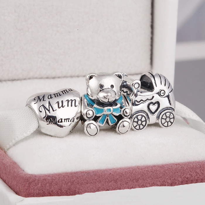 Fits Silver Charms Bracelet and Necklace 925 Sterling Silver Charm Set Sparkling Lovely Bear/Heart/Car Women DIY Jewelry