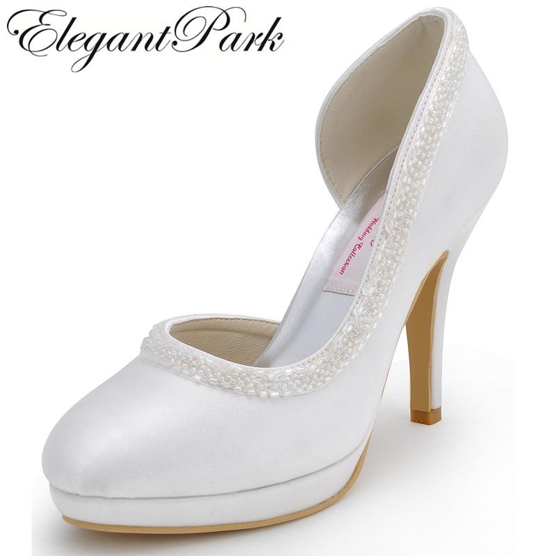 Woman High Heel White Red Close Toe Platform Pearls Bridesmaids Pumps Satin Lady Evening Party Wedding Bridal Shoes EL-005C-PF