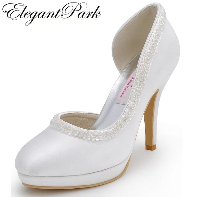 Woman High Heel White Red Close Toe Platform Pearls Bridesmaids Pumps Satin  Lady Evening Party Wedding Bridal Shoes EL-005C-PF bd46888991e3