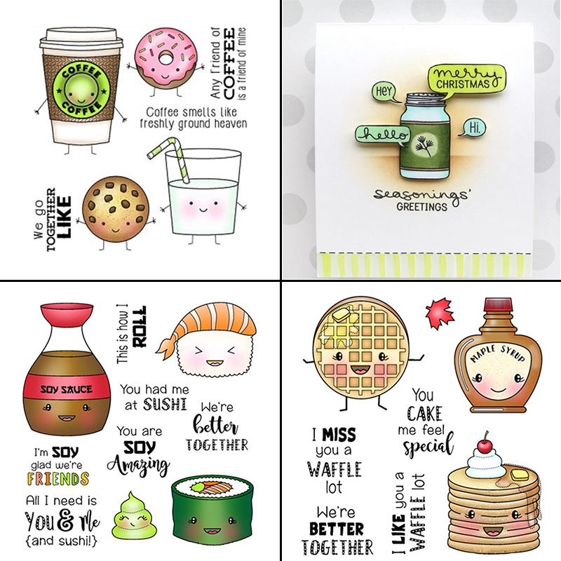 AZSG Delicious Cookies/Cake/Sushi/Coffee Clear Stamps For DIY Scrapbooking/Card Making/Album Decorative Silicone Stamp Crafts