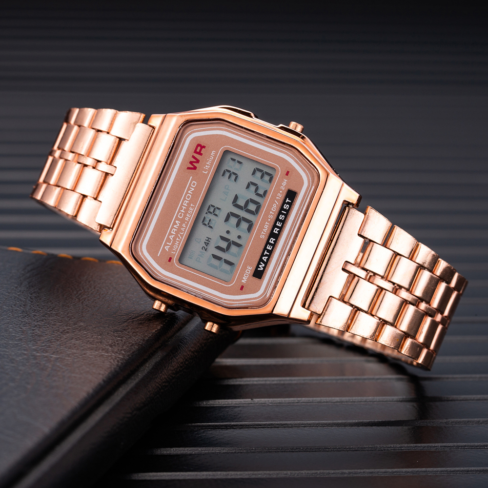 TMC#212 Rose Gold Vintage Sports Military Digital Watches Women Men Unisex Stainless Steel LED Electronic Clock Erkek Kol Saati