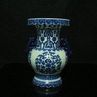 Chiński antyczne porcelany Niebieski i biały Blokady Butelki rzemiosło vintage home decor