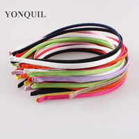 100PCS/LOT 5MM Colored satin ribbon coverd metal hard hairbands girls boutique headbands women hair accessories Multiple colors