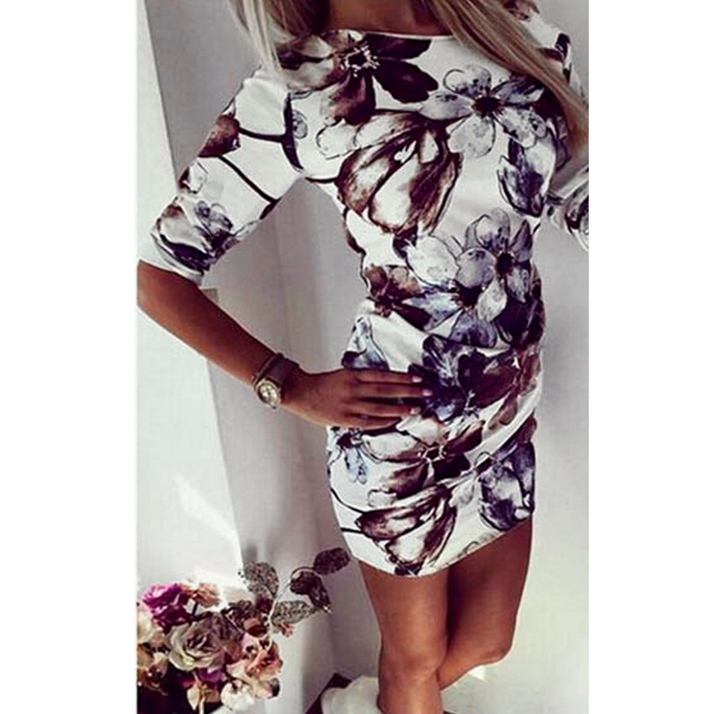 Sexy Retro Round Neck Women Dress Floral Printed Nightclub One Shoulder Half Sleeve Bodycon Fashion Pencil Evening Party Summer