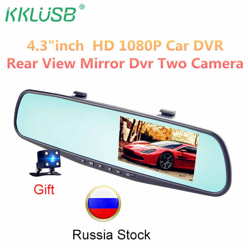 Full HD 1080P Car Dvr Camera Auto 4.3 Inch rearview mirror Digital video recorder Dual Lens registratory camcorder Automatic DVR
