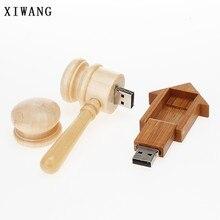 XIWANG Wooden Hammer Pendrive U Disk Drive 4G 8GB 16G 32G 64GB Disk Memory Stick Wooden Room U Disk USB Disk Drive Wedding Gift