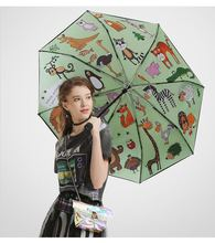 103cm  5 times black coating anti-UV windproof anti-thunder fiberglass parasol three fold heat transfer paper printed umbrella