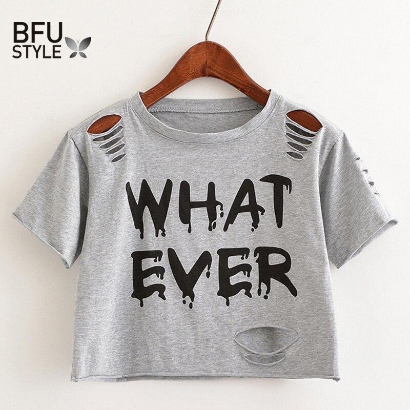 Camiseta corta con estampado de letras para mujer, Camiseta corta con agujeros, Camisetas grises casuales, Camisetas negras lindas para mujer, Camisetas