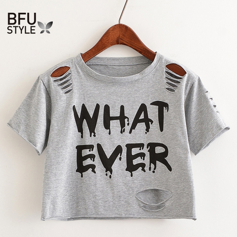 WHATEVER Letter Print Short T Shirt Women Crop Top Holes T Shirt Casual Gray Tees Ladies Black Cute Streetwear Tops Camisetas