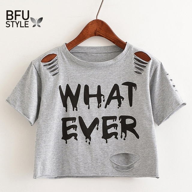 6f577e41f49 WHATEVER Letter Print Short T Shirt Women Crop Top Holes T Shirt Casual  Gray Tees Ladies Black Cute Streetwear Tops Camisetas