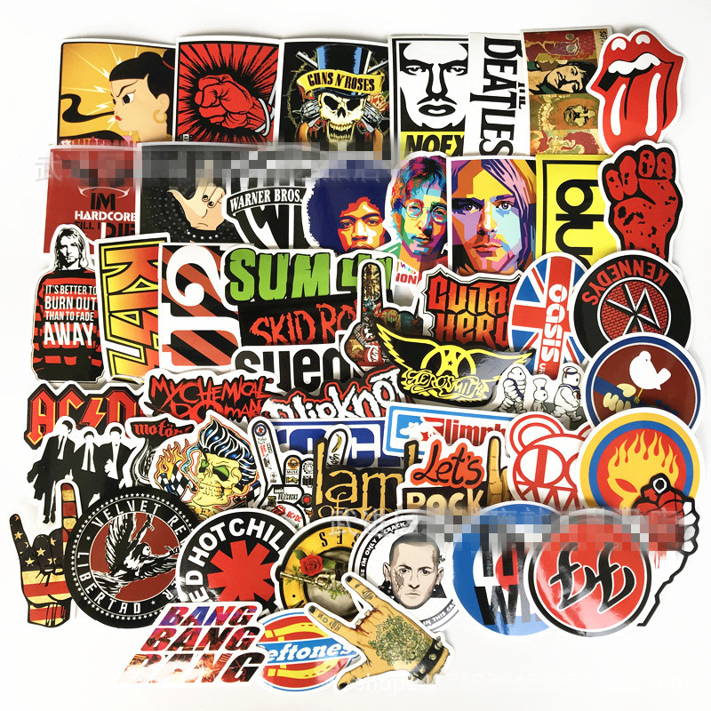 52pcs/Set Retro rock band music Stickers Grean Day RHCP Luggage For guitar suitcase skateboard DIY waterproof Stickers