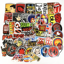 52pcs/Set Retro rock band music Stickers Grean Day RHCP Luggage For guitar suitcase skateboard DIY waterproof Stickers(China)