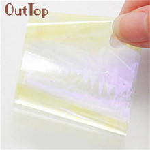 OutTop Pegatinas de unas 5 Pcs New Nail Art Stencil Foils Nails Wraps Decal Glitter Shattered Glass DIY 17Apr27