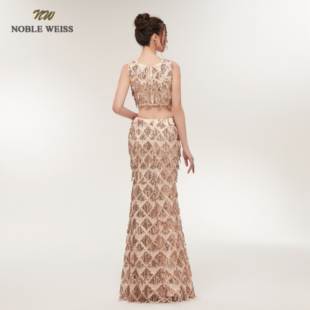 NOBLE WEISS Sexy Mermaid Evening Dresses Two Pieces Sequined Prom Gown Robe de Soiree 2019 Formal Special Occasion Gowns
