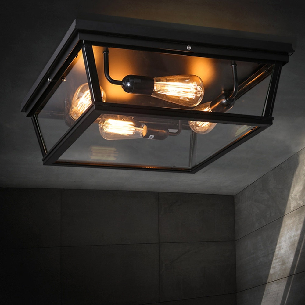 Loft square outdoor ceiling lights industrial iron art for Plafondverlichting