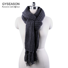 Winter Scarf For Men Women Knitted Warm Long Tassel Dark Grey Unisex Scarf Female Soft Thick Echarpe Bandanna Scarf Male Scarves