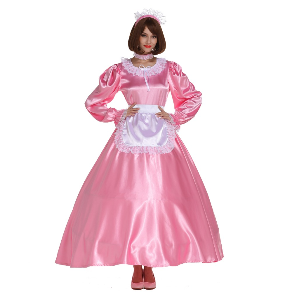 8a70f559d9c5d US $169.0 |Sissy Girl Maid Round Neck Shiny Satin Long Dress Crossdress  Cosplay Costume on Aliexpress.com | Alibaba Group