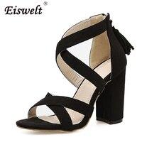 EISWELT Women Summer Gladiator Sandals Fashion Zip Fringe Solid Sheos Women Sexy Black Peep Toe Sandals