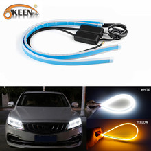 Okeen 30 Cm 45 Cm 60 Cm 12V Led Drl Dagrijverlichting Wit Headlight Led Amber Turn Licht drl Strip Angel Eyes Voor Koplamp(China)