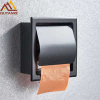 Quyanre negro mate cromo soporte de Papel higiénico acero inoxidable 304 caja de Papel Porta Papel Higienico rollo de Papel caja de pañuelos