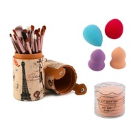 Pro Women Outdoor Travel Makeup Brush Sets 20pcs Makeup Brushes 4xPowder Puff 7xAir Puff Pop Bag