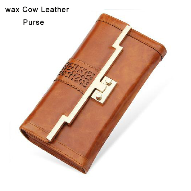 2014 Korean Style Leather Purse/ female long design oil cow leather wallet in card holder function clutch bag in nice buckle