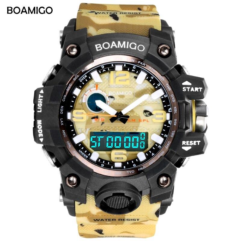 BOAMIGO Camouflage Military Digital-uhr männer G Stil Mode Sportstoßdämpfer Armee Uhr FÜHRTE Elektronische Armbanduhren für männer