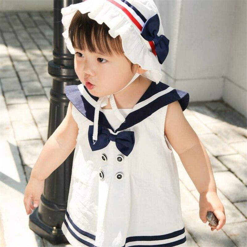 0-2Y Infant Baby Girls Dress + Hat Cotton Japan Style Sleeveless Dress Cute Bow Children Turn-neck Pullovr Princess Dress Set