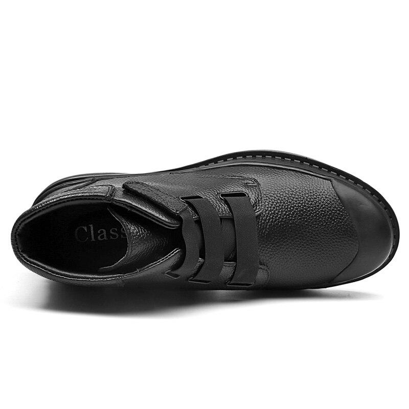 Cuir 2018 Lacets De À Rétro Véritable Style En Décontractées Hommes Bottines D'hiver Chaudes Garder Noires Chaussures Black Pour Bottes 0RnXwq