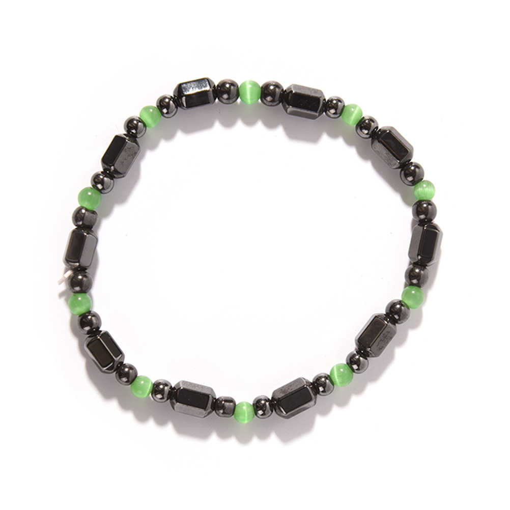 Magnetic Hematite สุขภาพสร้อยข้อมือผู้หญิงผู้ชายสีดำ Magnetite Malachite คริสตัล healing กำไลข้อมือหินธรรมชาติ