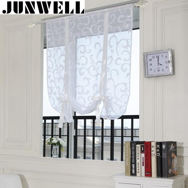 junwell new burnout romano cortina de polister voile cortina de la cocina comedor