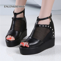 Fashion 2017 New Summer Wedges Platform Sandals Women Black And White Open Toe High Heels Female