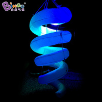 Free express Inflatable hanging spiral LED lighting balloon spiral lighting decoration toy for wedding party stage decoration