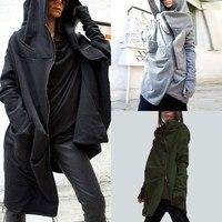 New Fashion Asymmetrical Hem Women Hooded Coat Outwear Autumn Winter Jacket Zip Up Long Hoodie Sweats