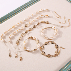 Lalynnlys New Hot Shell Conch Choker Necklace Women Girls Vintage Statement Multi-layer Necklaces Summer Beach Jewelry N68671