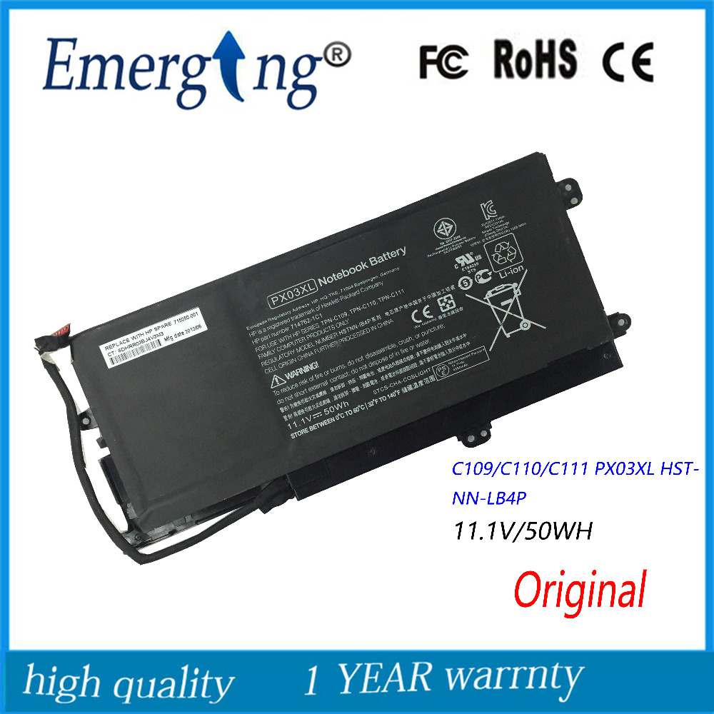 11.1V 50WH New Original Laptop Battery for HP TPN C109/C110/C111 PX03XL HSTNN-LB4P принтер hp officejet pro 251dw cv136a
