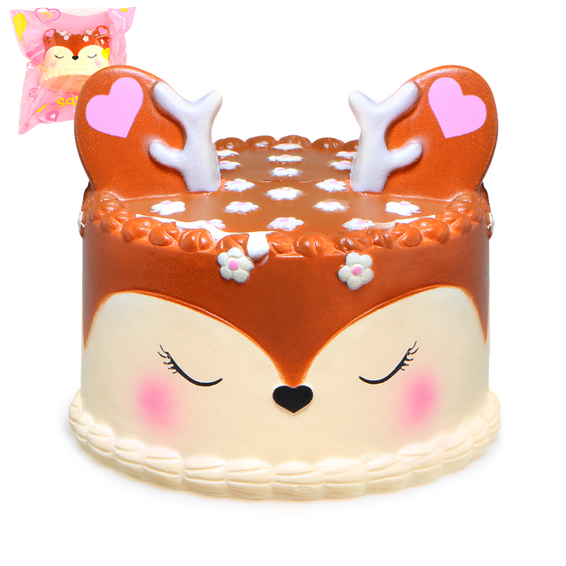 Us 55 Kawaii Deer Cake Squishy Jumbo Slow Rising Squishies Cream Scented Squeeze Kid Toy Phone Charm Gift For Stress Relief In Squeeze Toys From
