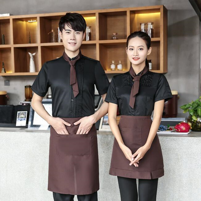 Hotel Waitress Short Sleeve Overalls Summer Women Hot Pot Shop Restaurant Catering Uniform Fast Food Shops Waiter Workwear H2243