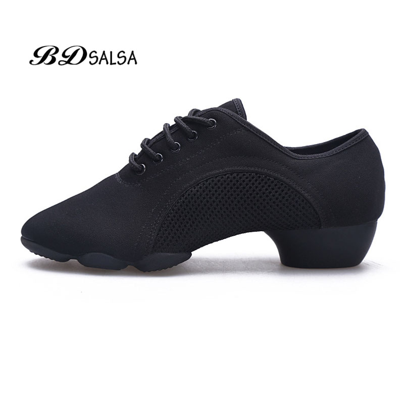 Latin Dance Shoes Oxford Cloth Square  Latin Shoes Two Soft Anti-slip Low-end Ballroom Shoe BDSALSA BDJW-1 Authentic Heel 3 Cm